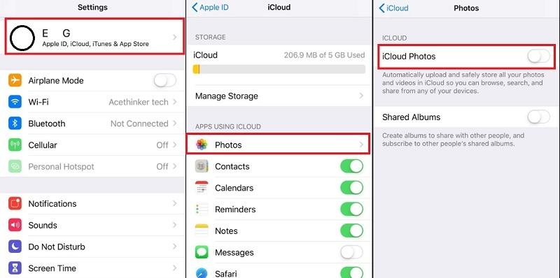 iPhone wont delete photos disable icloud