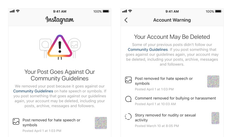 instagram not posting policy