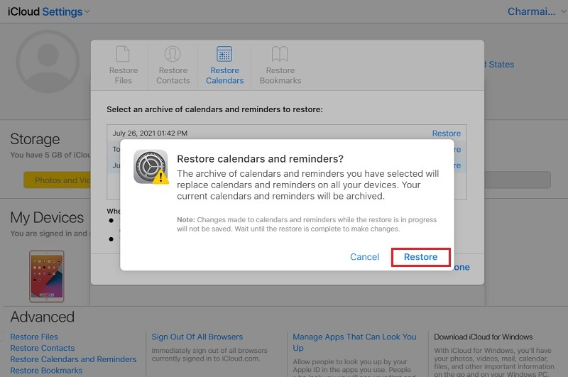 recover deleted calendar events iphone iClouds