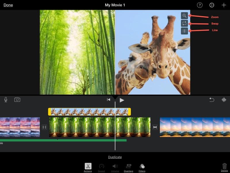 split screen in imovie edit iphone