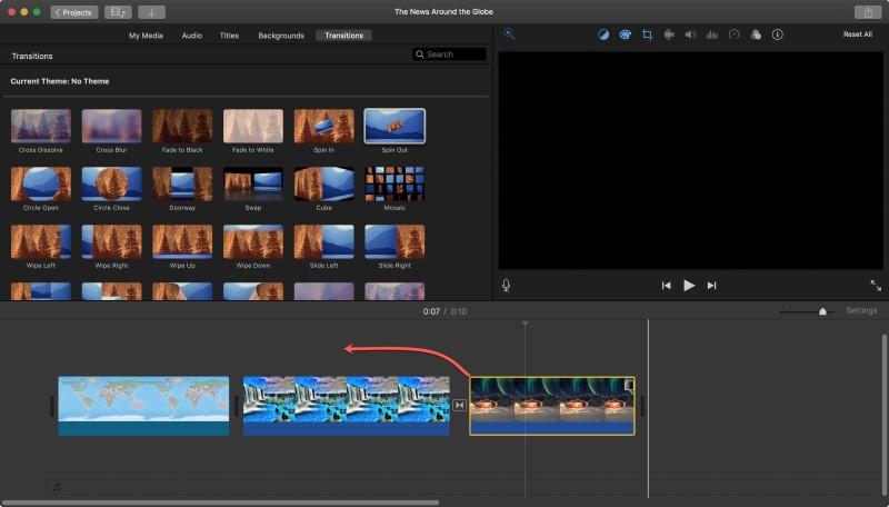 split screen in imovie step2