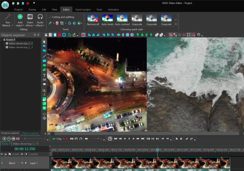 split screen video editor vsdc