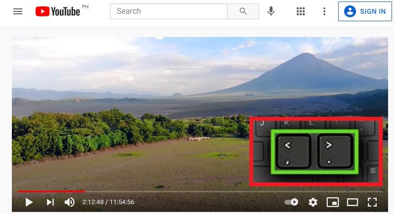 youtube frame by frame hotkeys