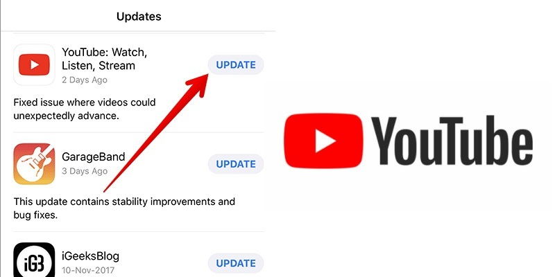 youtube-not-working-on iphone update youtube
