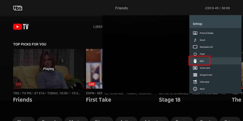 youtube tv buffering restart tv app