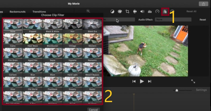 add effects to imovie process