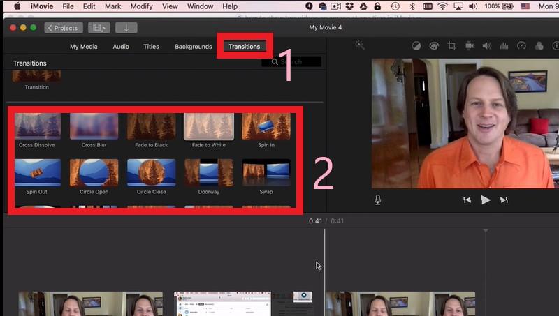 add transition in imovie edit