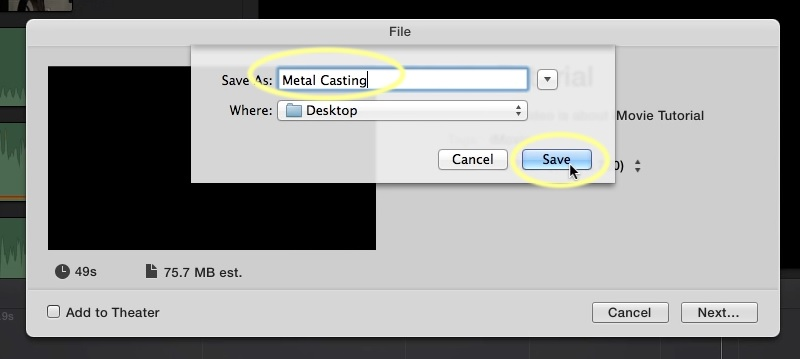 add transition in imovie export
