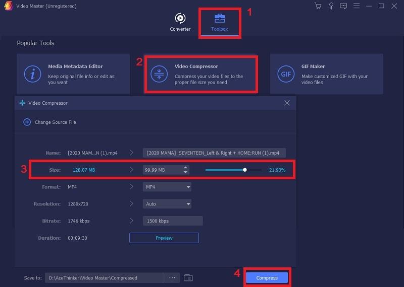 compress video for Messenger vm step3