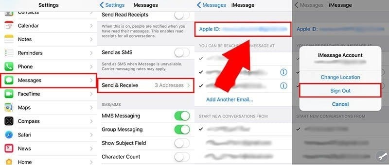 iMessage not delivered signout imessage