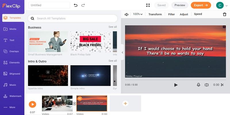 online video editor no download flexclip