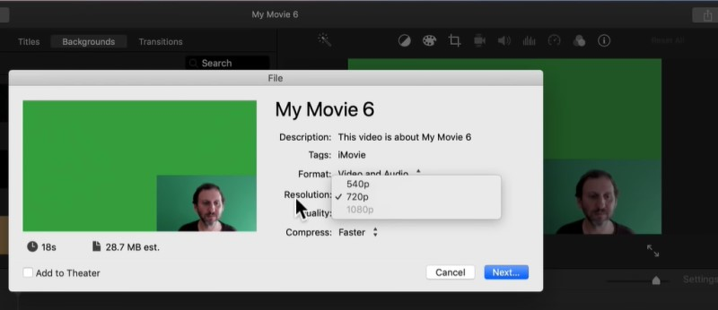 resize video in imovie process