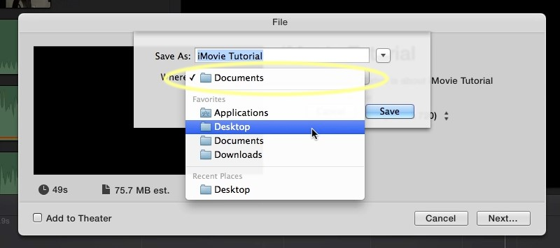 resize video in imovie save