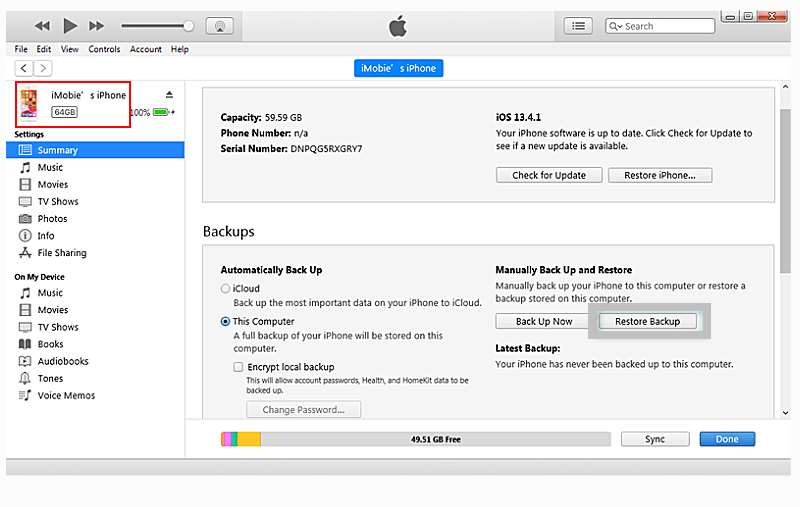 restore deleted contacts iphone step2 itunes