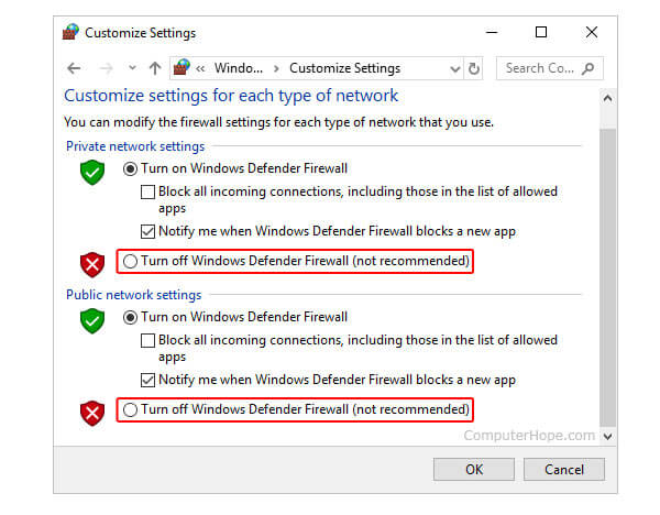 cannot detect device turn off defender firewall