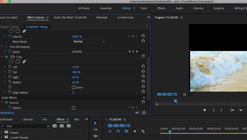 crop videos in adobe premiere process