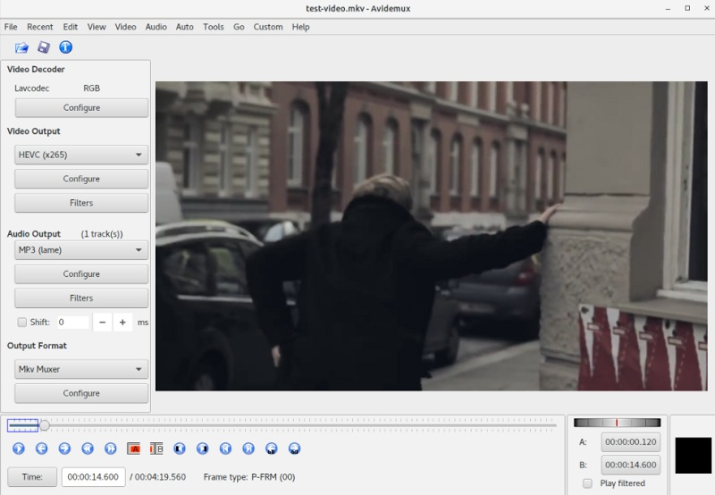 free linux video editor avidemux interface