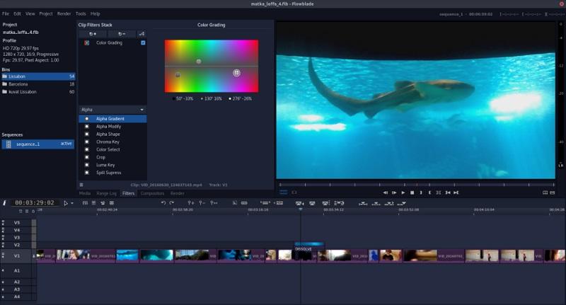 free linux video editor flowblade interface