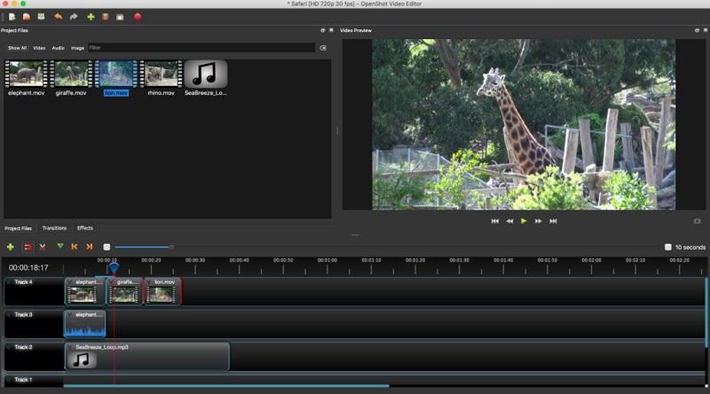 free linux video editor openshot interface