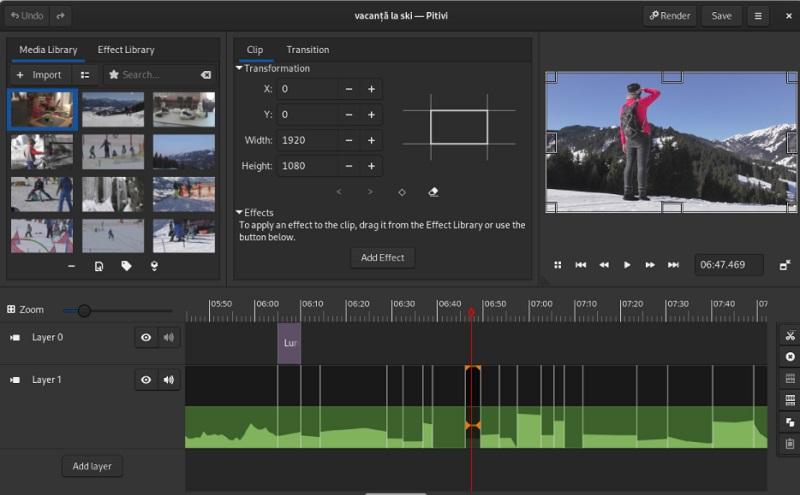 free linux video editor pitivi interface