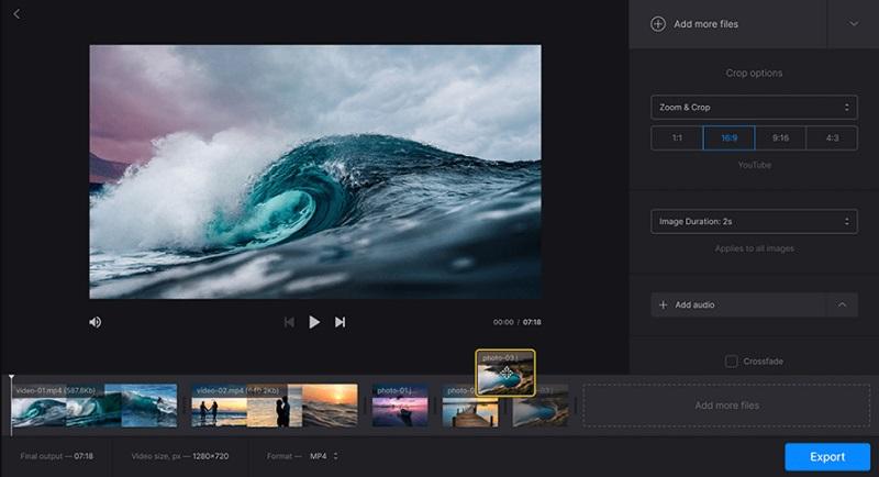 free video cutter clideo interface