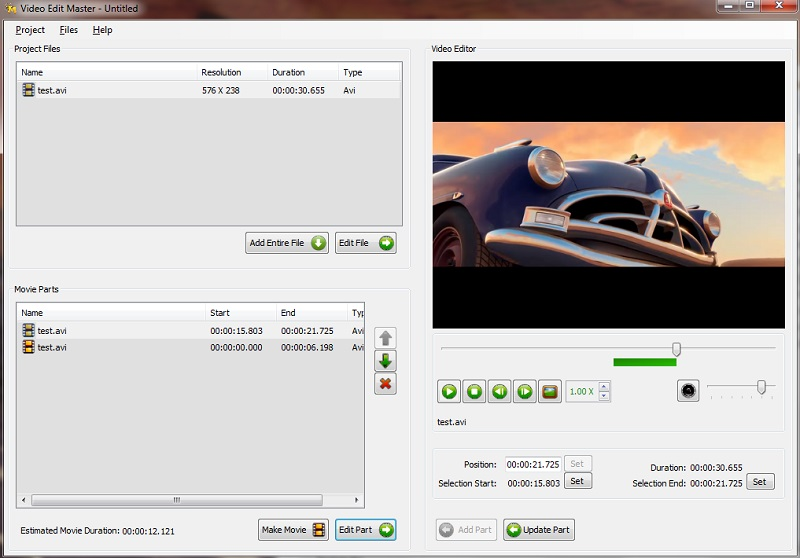 free video cutter videoeditmaster interface