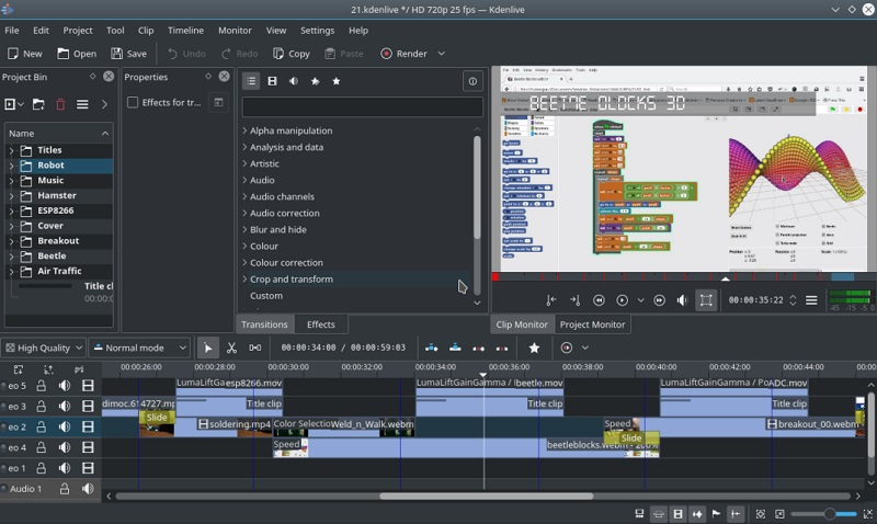 free video editing app for pc kdenlive interface