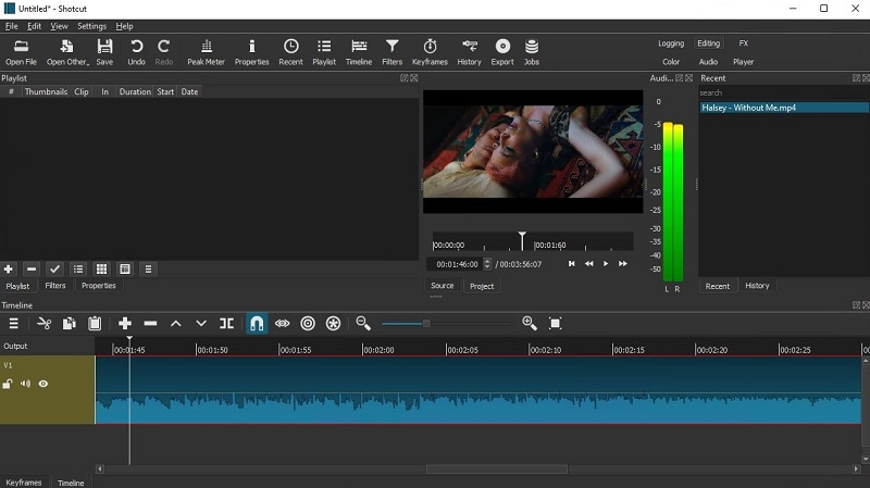 free video editing app for pc shotcut interface