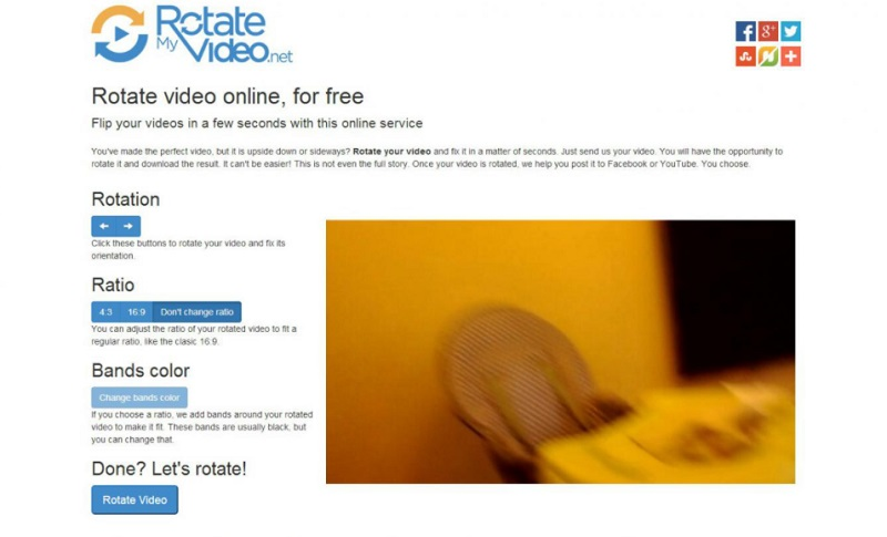 free video rotator rotatemyvideo interface