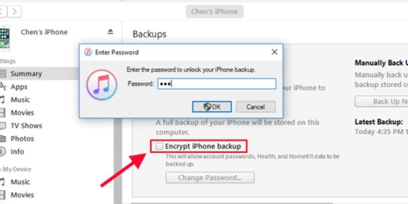itunes backup password deactivate encryption