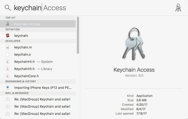 itunes backup password keychain access step1