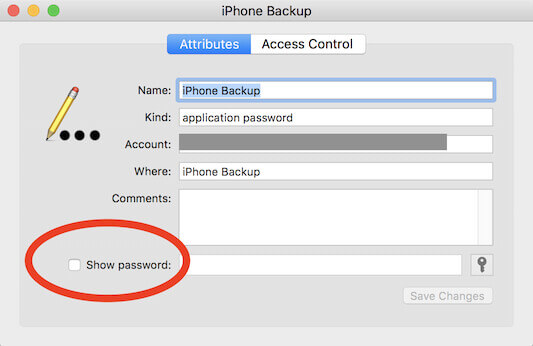 itunes backup password keychain access step4