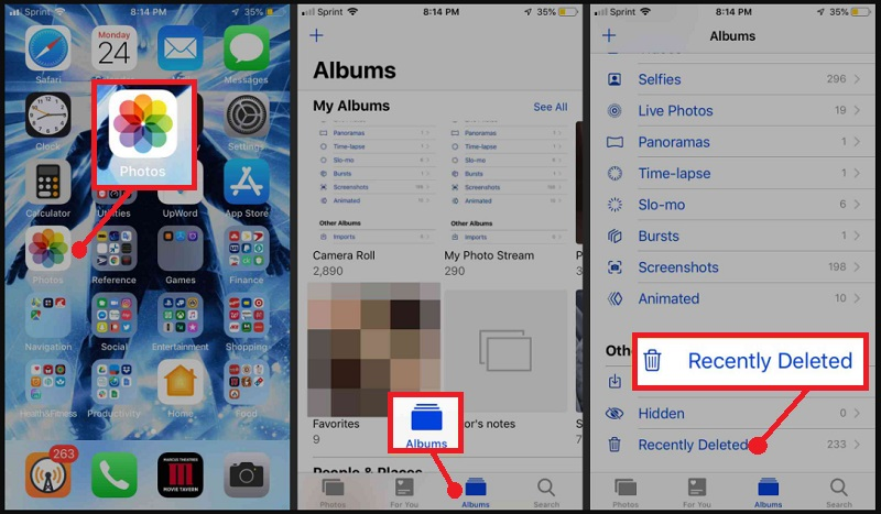 recover photos after factory reset iphone recover from recently deleted folder