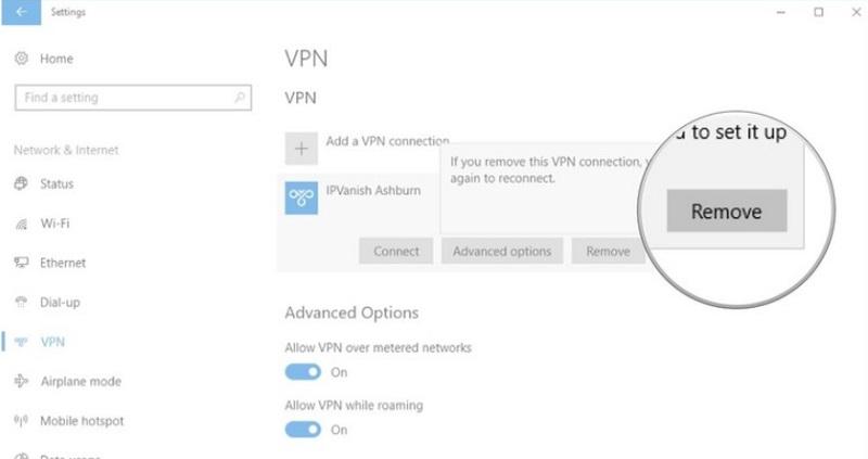 register network error disengage vpn
