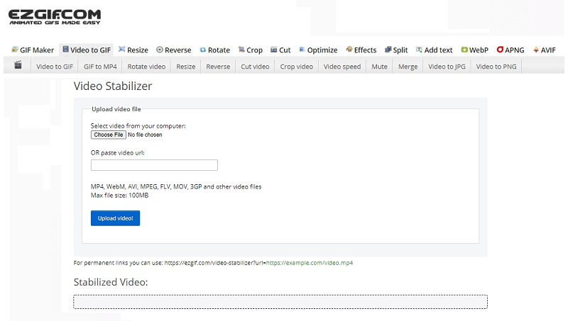 stabilize video online free ezgif