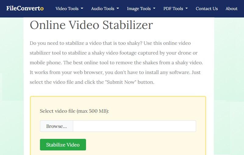 stabilize video online free fileconverto