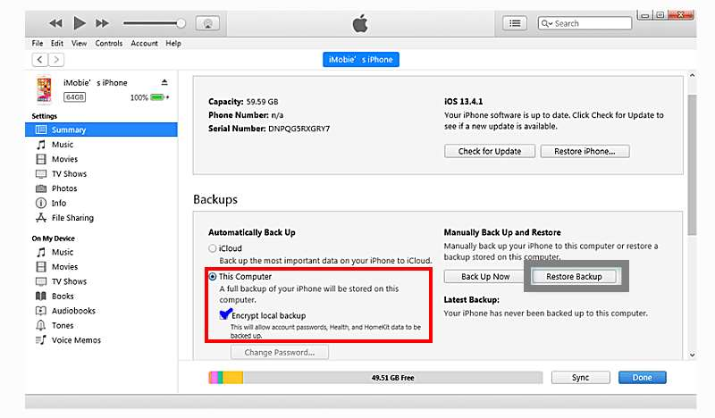 recover deleted imessages wth itunes